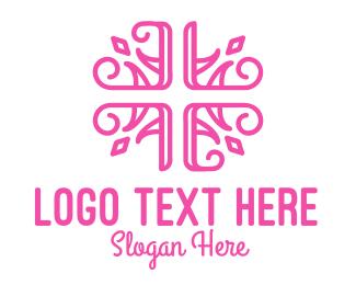 Needlework - Floral Cross logo design