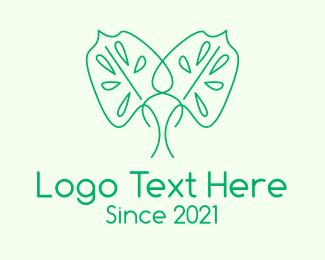 Monstera Deliciosa - Green Minimalist Leaf logo design