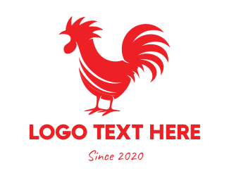 Red Bird - Red Rooster Silhouette logo design