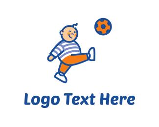 Healthy - Soccer Player Cartoon logo design