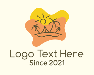 Sunbathing - Summer Island Vacation logo design