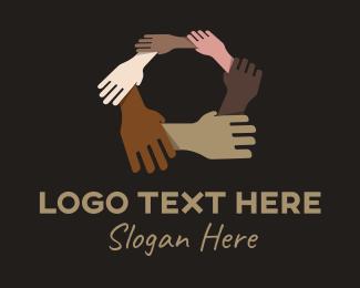 Humanity - Unity Diversity Hand logo design