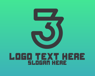 Number 69 - Minimalist Number 3 Outline logo design