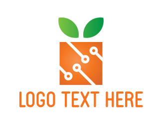 Electronic - Square Orange logo design