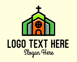 Prayer - Multicolor Church Building logo design