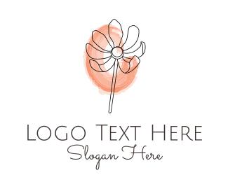 Lotion - Minimalist Watercolor Flower logo design
