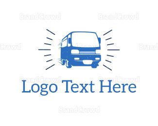 School Bus - Blue Van  logo design