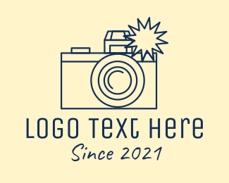 Photo Booth - Minimalist Vintage Camera Photographer logo design