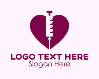Nursing - Purple Heart Syringe logo design