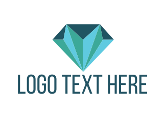 Mine - Blue Green Diamond logo design
