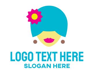 Wig - Woman Colorful Hair logo design