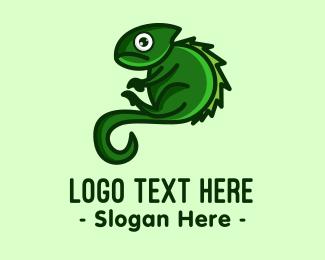 Chameleon - Green Iguana Mascot logo design