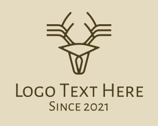 Minimalist Stag Deer Antlers Logo
