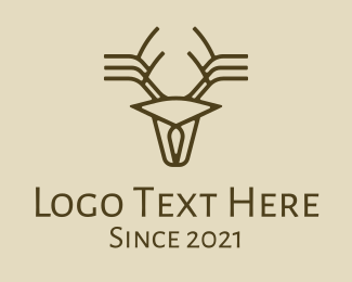 Forest Animal - Minimalist Stag Deer Antlers logo design