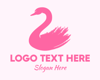 Geese - Pink Swan Brushtstroke logo design