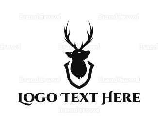 Antlers - Deer Head Trophy logo design