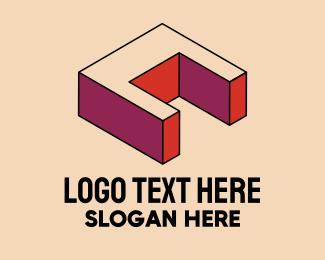Gaming - 3D Pixel Letter C logo design