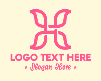 Fairy - Pink Butterfly Wings Letter H logo design