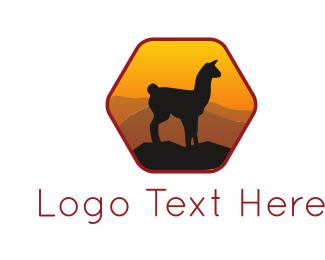 Silent - Sunset Llama logo design