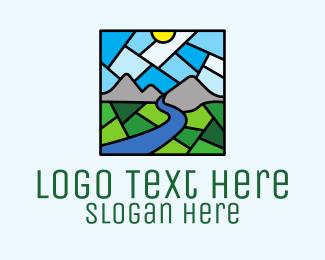 Church Window - Rural Scene Mosaic  logo design