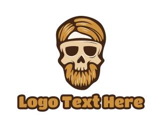 Hipster Skull Mask Logo Maker