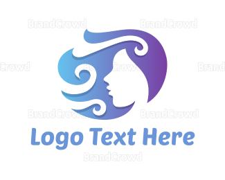 Woman - Fashion Curly Woman logo design