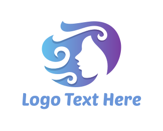 Hairstyle - Curly Woman logo design