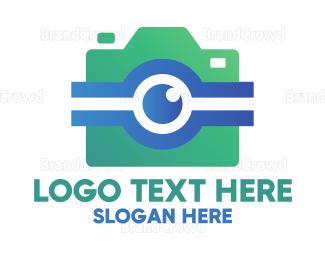 Camera Rental - Modern Teal Instagram Camera logo design