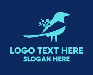 Pixel - Blue Pixel Bird logo design