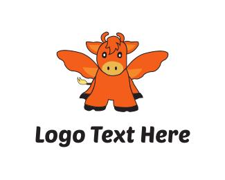 Bovine - Flying Ox logo design