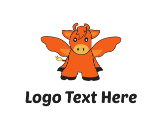 Cattle - Flying Ox logo design