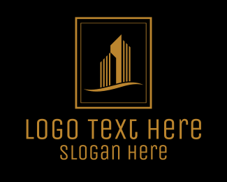 Town House - Gold Building Architecture Realty Emblem logo design
