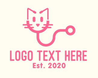 Pet Clinic - Pink Cat Veterinary logo design
