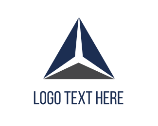 Three - Blue Triangle logo design