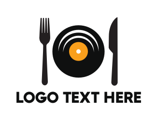 Record - Music Dish logo design