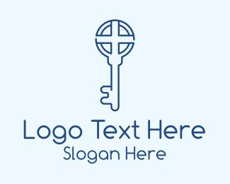 Lock And Key - Blue Cross Key logo design
