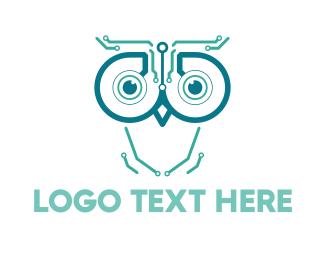 Artificial Intelligence - Circuits & Owl logo design