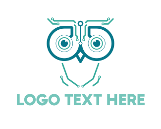 Machine - Circuits & Owl logo design