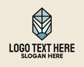 Daylight - Stained Glass Cross Light logo design