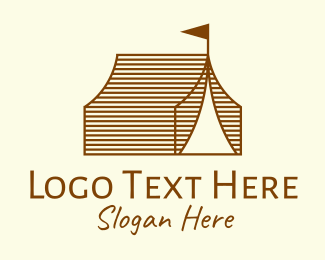 Backpacking - Rustic Camp Tent logo design