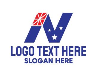 National Flag - Patriotic Letter N  logo design