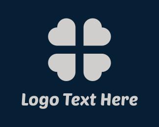 Four Leaf Clover - Silver Clover logo design