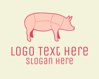 Butcher - Quality Pink Pig Butcher logo design