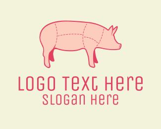 Piglet - Quality Pink Pig Butcher logo design