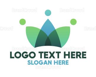 Crowd - Leaf Crown Crowd  logo design