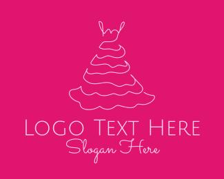 Seamstress - Pink Dress logo design