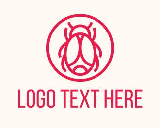 Exterminator - Red Minimalist Bug logo design