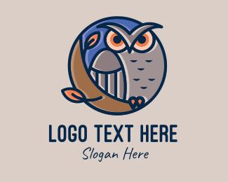 Barn Owl - Night Owl Bird logo design