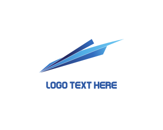 Flight - Blue Paper Plane logo design