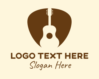 Pick - Brown Guitar Pick  logo design